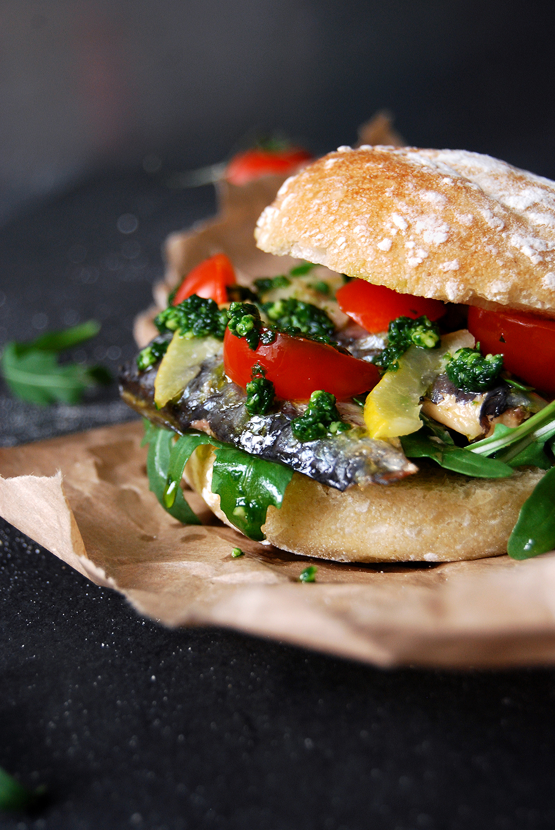 Sardine Lemon Pesto Sandwich