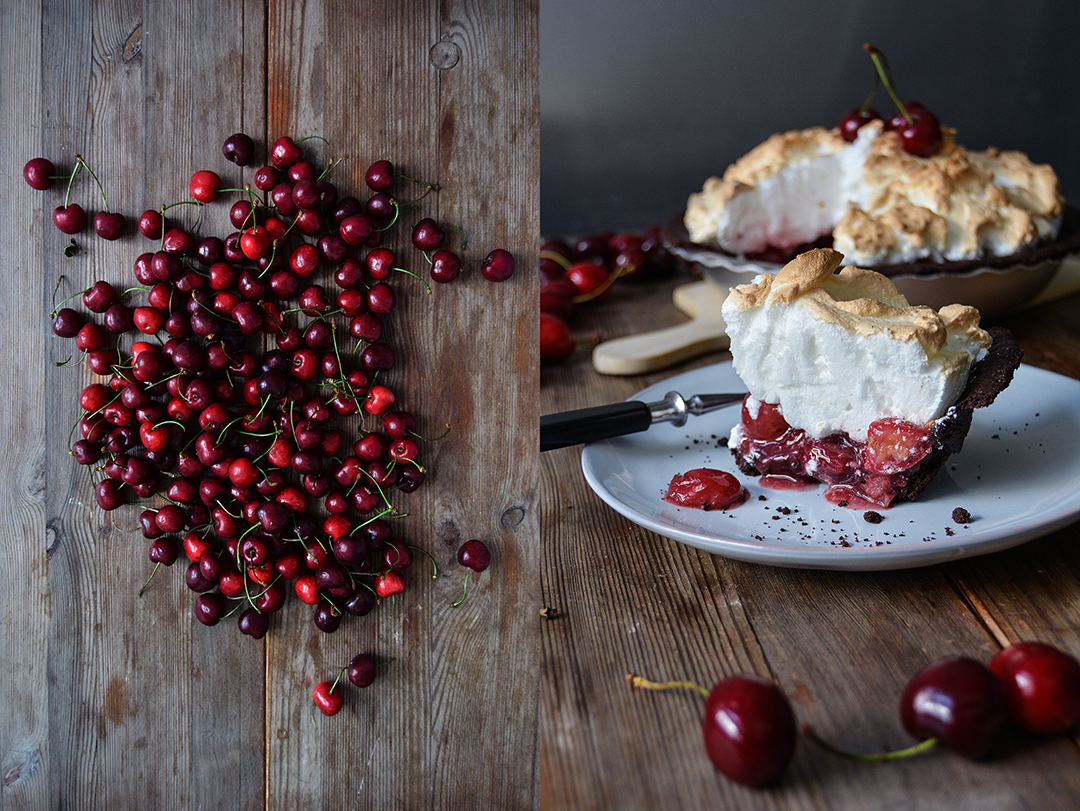 Cherry Chocolate Meringue Pie