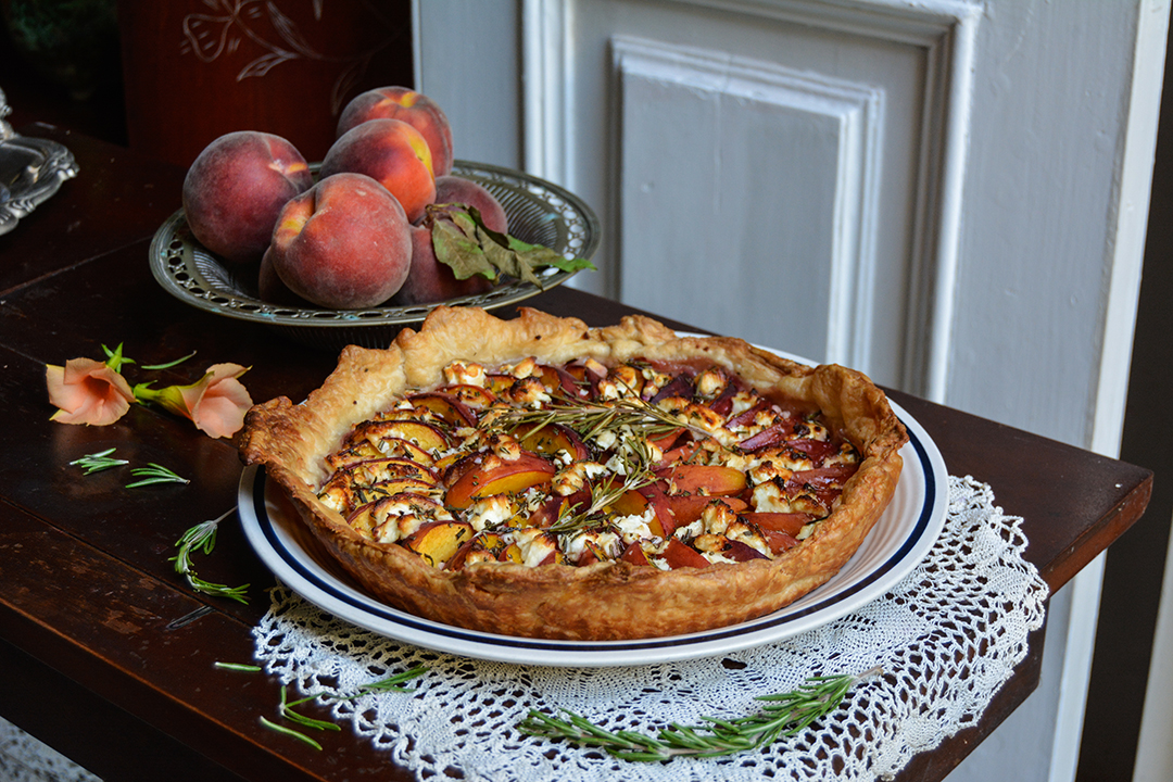 Peach, Chèvre and Rosemary Tarte